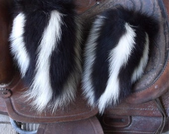 Skunk fur mittens handmade X small with red fleece liner