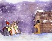 Christmas Card, Christmas Greeting Card, Funny Cat Christmas Card, Funny Dog Christmas Card, Handmade Greeting Card