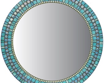 Round Mosaic Wall Mirror - Turquoise Blue-Green