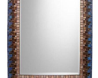 Blue & Brown Mosaic Wall Mirror