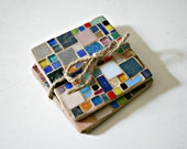 Stained Glass Mosaic Coasters Set of 2, Glass Tiles - 4 Inches