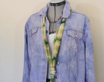 "Lilac Sz 12-14 Large Denim JACKET - Lavender Violet Dyed Upcycle Faded Glory Denim Trucker Jacket - Adult Womens Size Large (46"" chest)"