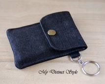 Credit Card Case / Fabric Card Holder / Minimalist Wallet / Fabric Wallet / Keyring Pouch / Denim Wallet