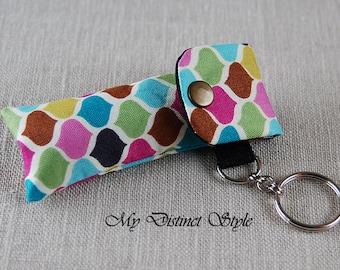 Fabric Lip Balm Holder with Keyring, Lip Balm Cozy, Chapstick Holder