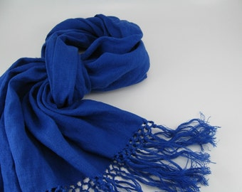 Handmade Linen Scarf --- Royal Blue