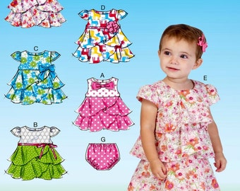 Toddlers' Ruffle Dress and Panties Pattern,  Baby Ruffle Dress Pattern, Sz 8 to 29 lbs, McCall's Sewing Pattern 7072