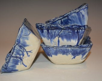 Set of 4, Square Pottery Bowls, Hand Built Pottery, Blue and White, Ceramics and Pottery, Kitchen and Dining, Dining and Serving