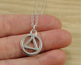 AA Recovery Necklace, Silver Recovery Symbol Charm on a Silver Cable Chain