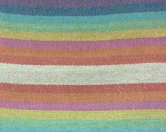 Ethnic Mexican Jerga Fabric Blue Rainbow