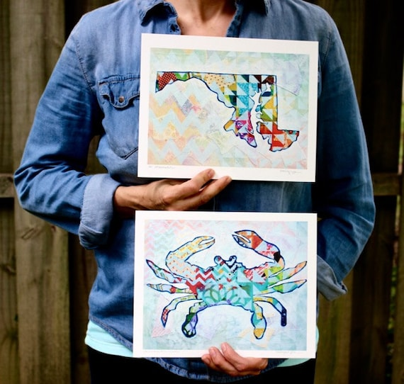 Matching Maryland and Crab Silhouettes Mixed Media Art Print Gifts Under 50 Home Decor Nautical Decor Colorful Geometric Chevron