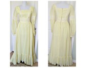 Vintage 60s yellow cotton hippie, bohemian, gypsy, maxi dress