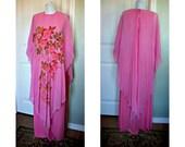 Vintage 70s hot pink goddess, disco, avant guarde maxi dress