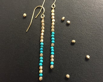 Long gold and turqoise minimalist Earrings