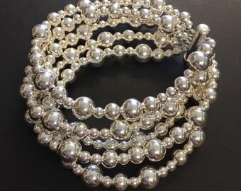 Silver Bracelet, Beaded Bracelet, Sterling Silver Rounds, Fine Jewelry