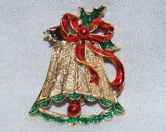 Vintage / Christmas / Bell / Brooch / Enamel / Gold / Old Jewelry / jewellery