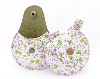 Leather Coin Purse / The Mini Gypsy Change Purse / Genuine Leather Coin Purse Printed Flowers and Cotton Lining