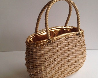 MOD-SALE! Vintage Koret Evening Handbag Purse 1960s Mod Italian Gold Lined Box Basket Summer Evening Purse Twiggy era handbag purse