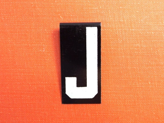 """vintage 40's letter J industrial metal sign 1.5"""" long .5"""" wide black & white hanging small little tiny mini baked on enamel church board old"""