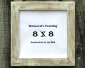 8 X 8 Picture Frame Distressed White Tan Country Primitive Wooden