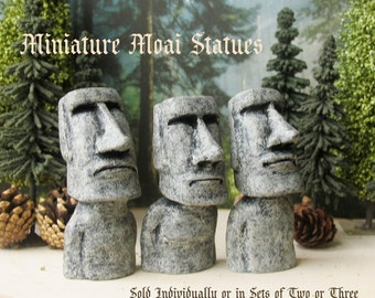 Miniature Moai Statues - Easter Island - Rapa Nui Monoliths - One to Six Handmade Miniature Polymer Clay Icons by Bewilder and Pine