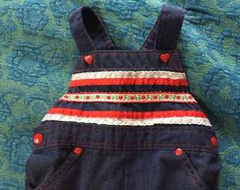Lace and Hearts Valentine's Denim Overalls size 2T