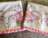 Vintage Pillowcase Trimmed with Pink Crochet.