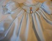 Peter Rabbit Handsmocked Bishop Dress- Easter or Special Occasions