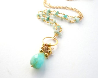 Peruvian Opal Pendant Necklace, Amazonite Necklace, Beaded Chain Necklace, Gemstone Necklace, Gold Pyrite Necklace, Mother's Day Gift