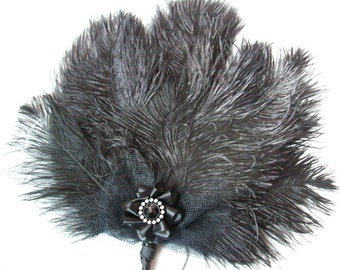 Black Shaggy Vintage Style Ostrich Feather Wedding or Costume Hand Fan Gothic Steampunk- Made to Order