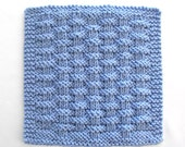 Knit Cotton Dishcloth, Blue Basketweave Dishcloth, Kitchen Washcloth, Knitted Cotton Washcloth