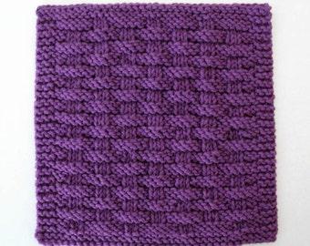 Cotton Dishcloth, Knit Dishcloth, Cotton Washcloth, Violet Purple Dishcloth, Basketweave Dishcloth