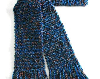 Blue Scarf, Long Chunky Knit Scarf, Knitted Winter Scarf Men Women, Blue Tweed Scarf, Long Knitted Scarf, 6 ft