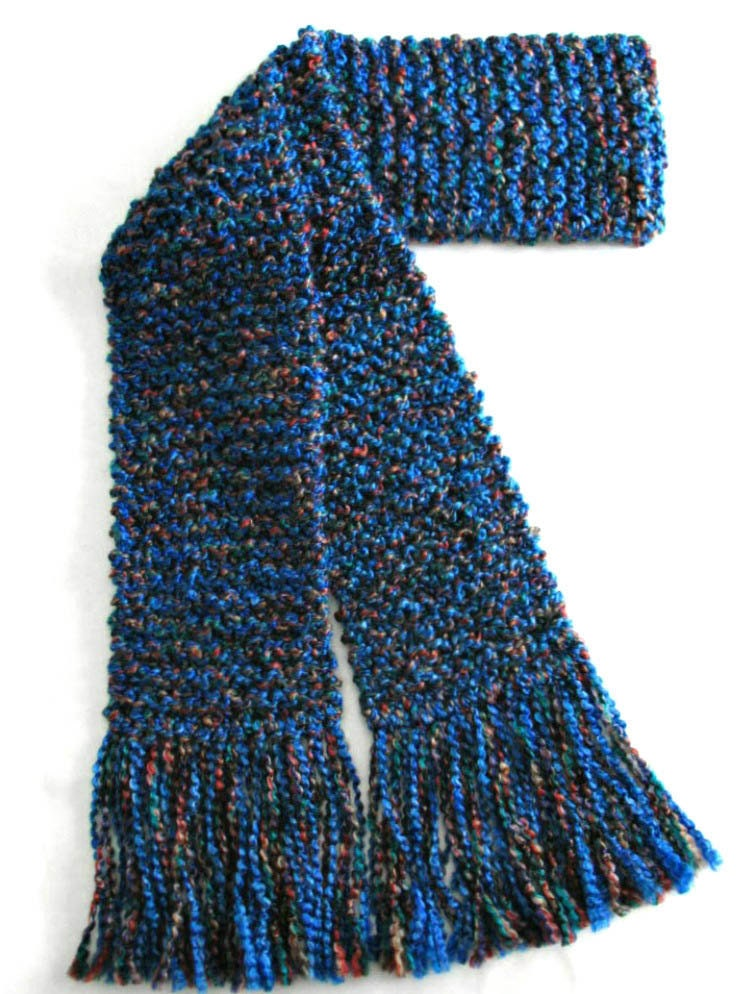 blue scarf chunky knit scarf knitted winter scarf