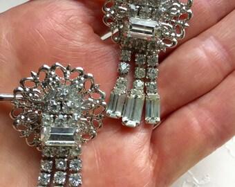 Vintage Rhinestone Dangle Hair Bobby Pins Bridesmaid Wedding Prom Art Deco Silver Doodaba