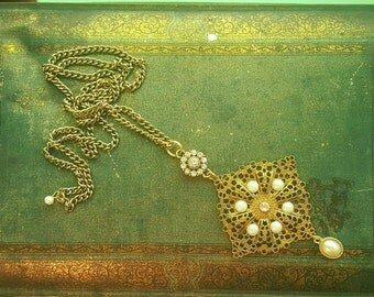 Byzantine Style Vintage Pearl and Rhinestone Long Necklace Repurposed Jewelry