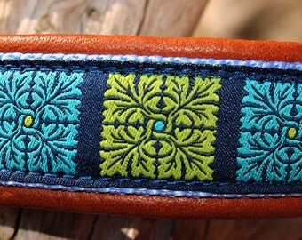 "Dog Collar ""Flower Quarter"" by dogs-art, leather dog collar, dog collar, dog collar leather, martingale collar, limited slip collar, collars"