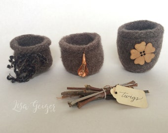 Felted Bowls (Petite) in Timber Brown