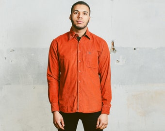 Mens CORDUROY Shirt . 90s Orange Cord 1990s Cotton Retro Shirt Casual Hipster Boyfriend Gift Normcore . Small Medium Large