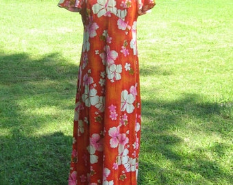 1960's-70s Pomare Hawaii tiki party mod era  Hibiscus floral maxi   dress