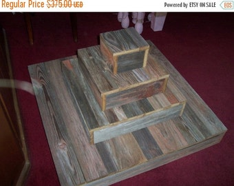 SALE Cupcake Stand 5 tier Cake wedding reception decorations rustic weddings outdoor Barn wood Reclaimed country