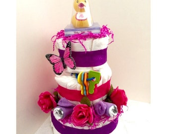 Diaper Cake Little Yellow Ducky Butterfly Purple Pink Roses Girl Pastel Lavender Duck White Soft Baby Shower Newborn Infant