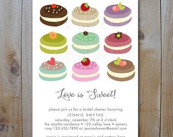 Bridal Shower Invitation / Love is Sweet / Macaroons / PRINTABLE INVITATION / 10512 2