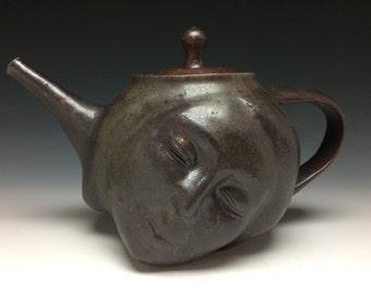 Dreamer Teapot Face Sculpture, Surreal Art Pottery Stoneware Serving Vessel Head