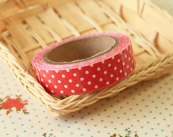 RED Polka Dots adhesive deco fabric tape