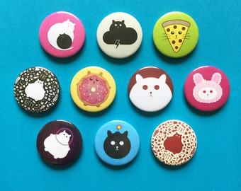 Cat badge pin button stocking stuffer/filler, colorful kawaii pinback buttons, sets of 4