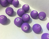 10mm Purple Rubberized Beads - Acrylic Bracelet Beads Matte - 18 Beads