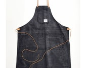 Deluxe Shop Apron w/leather BLACK
