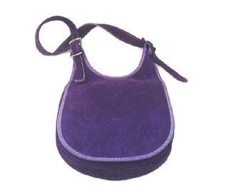 SALE Vintage 1970's Suede Purse, Saddle Bag, Purple Leather Handbag, Boho