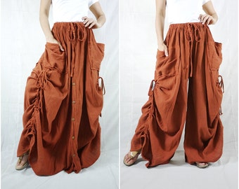 Love Me..Love Me Not III - Steampunk Burnt Orange Cotton Convertible Skirt Or Pants Or Tubedress With 2 Roomy Pockets