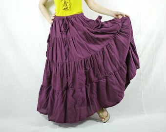 2 In 1 Take Me to Your Heart...Steampunk Short Front/ Long back Tiered Plum Skirt With 2 Roomy Pockets